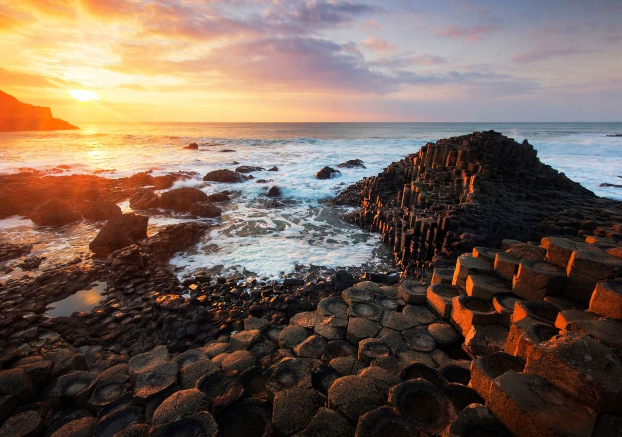 Sunset over the Giants Causeway