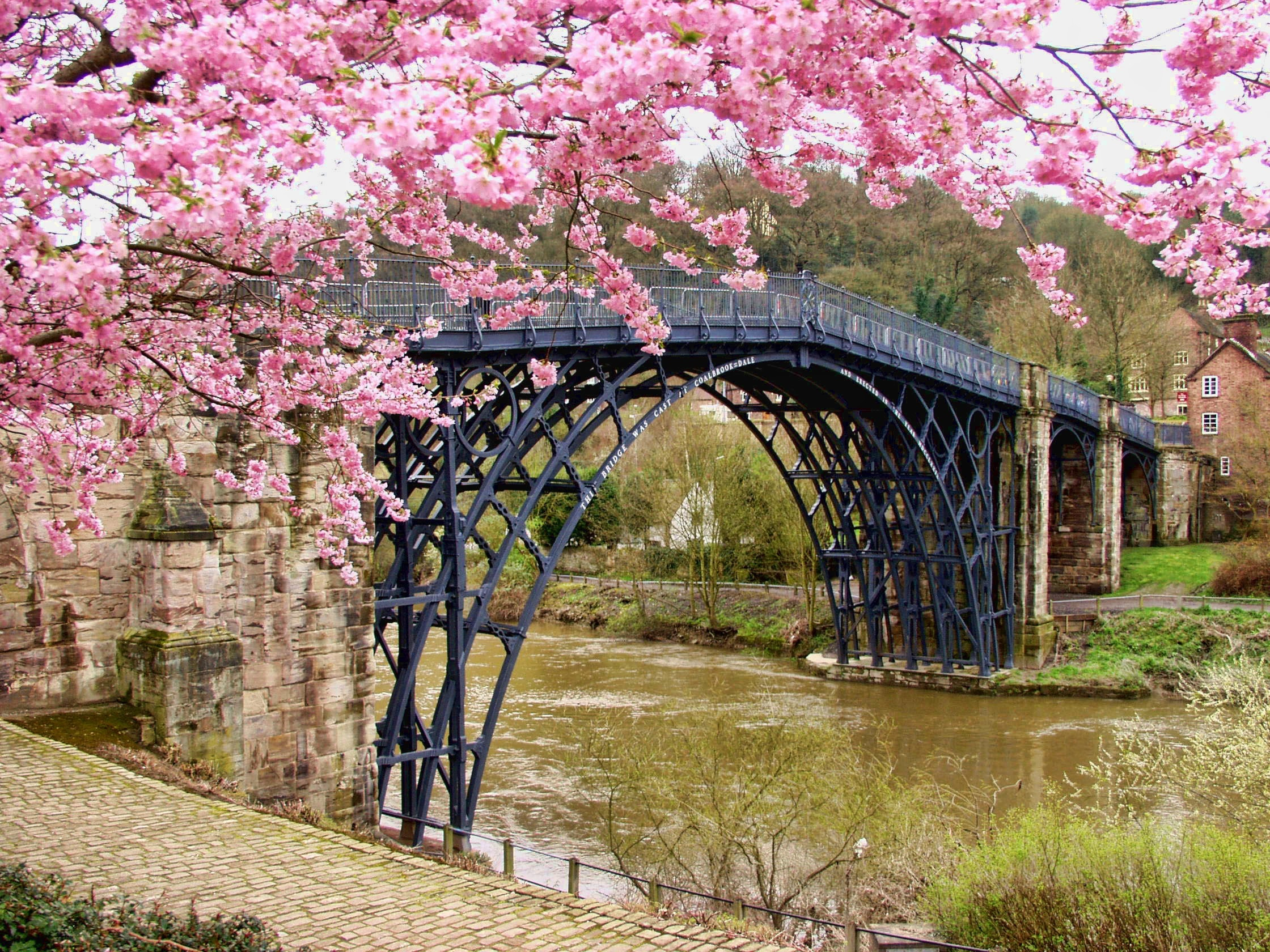 Iron Bridge England small village cherry blossom