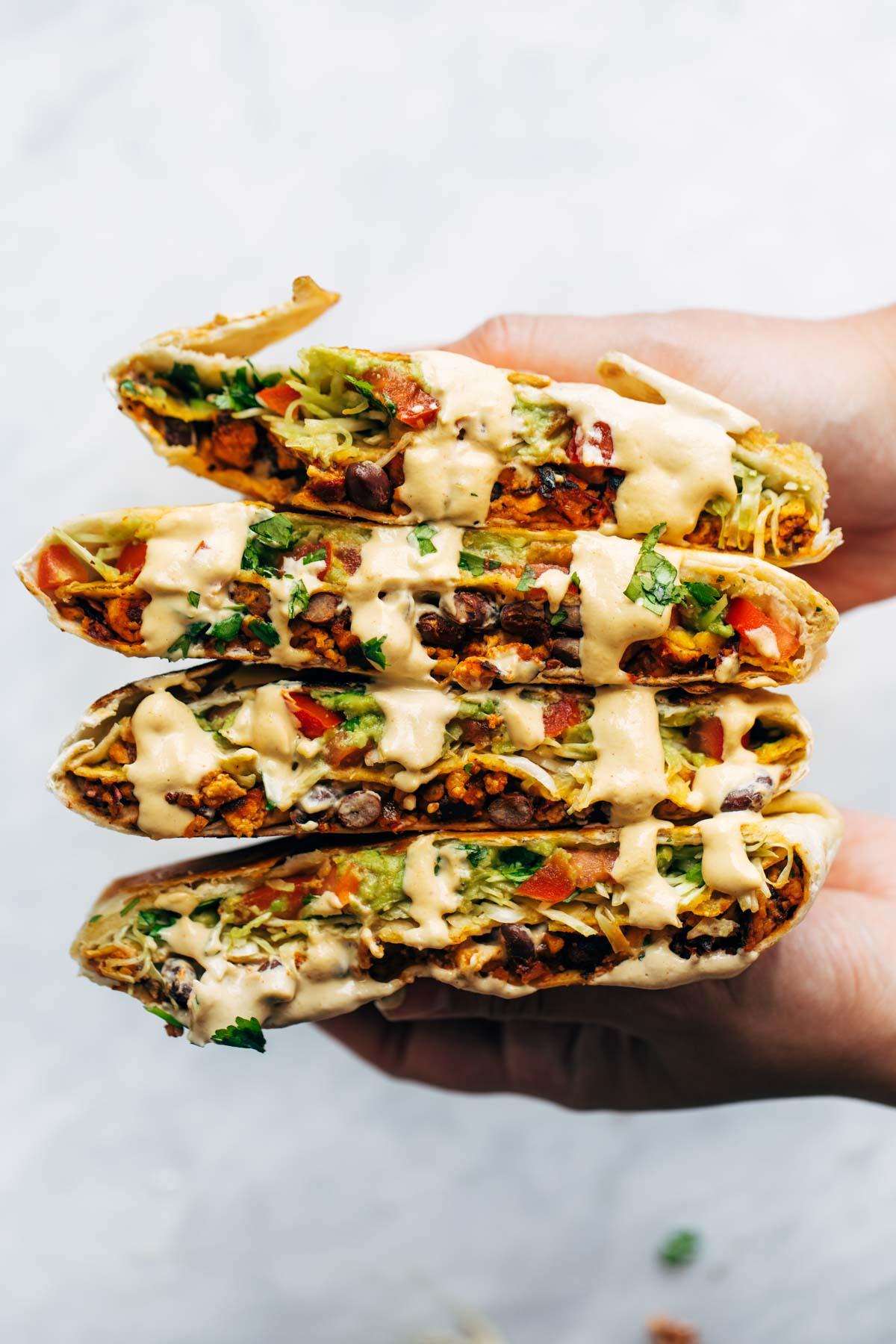 Vegan crunch wrap meat free plant based