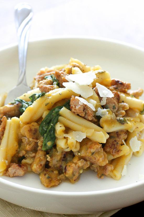 pasta with spicy butternut squash vegetarian
