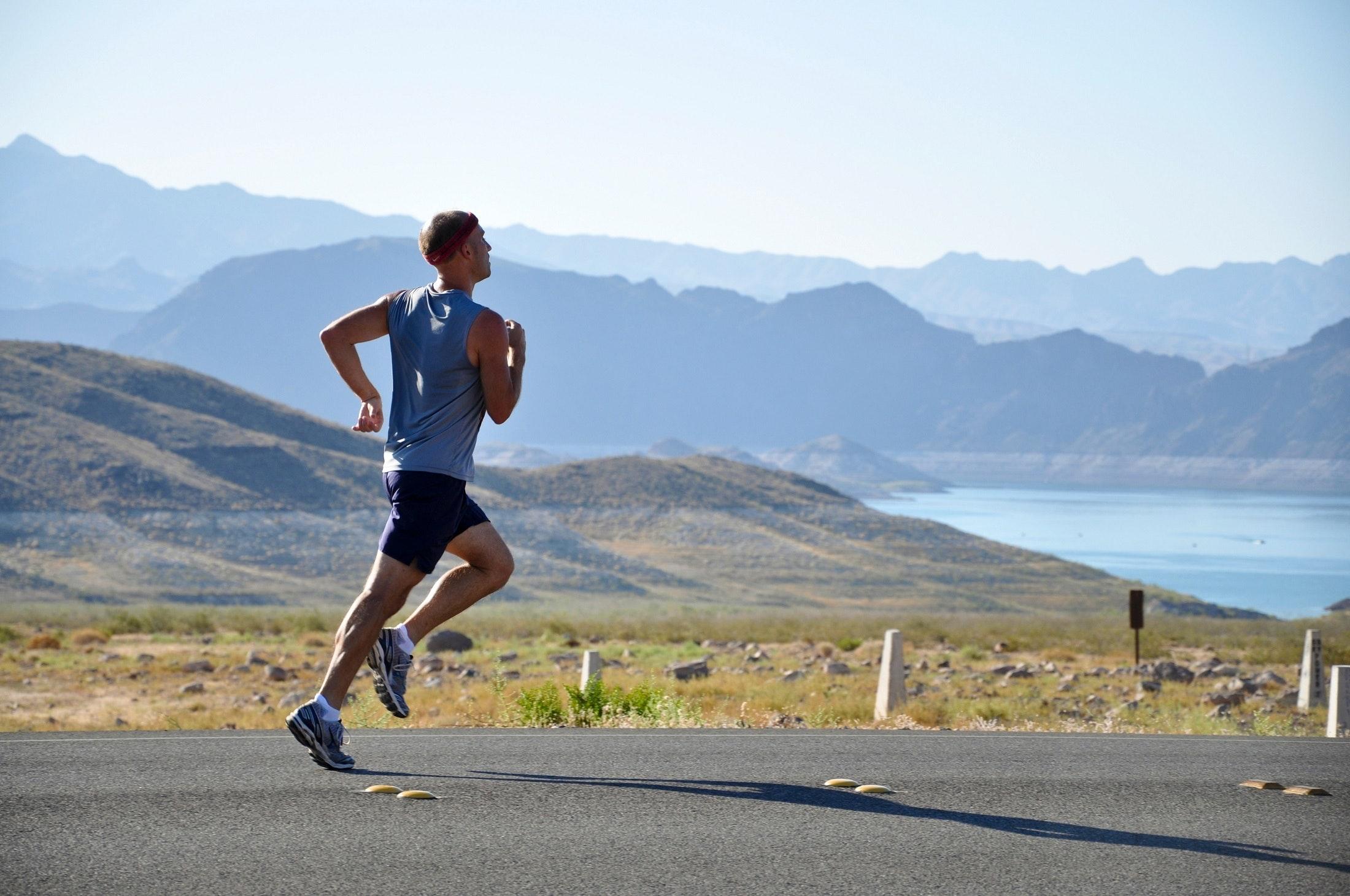 Man running outdoors long distance