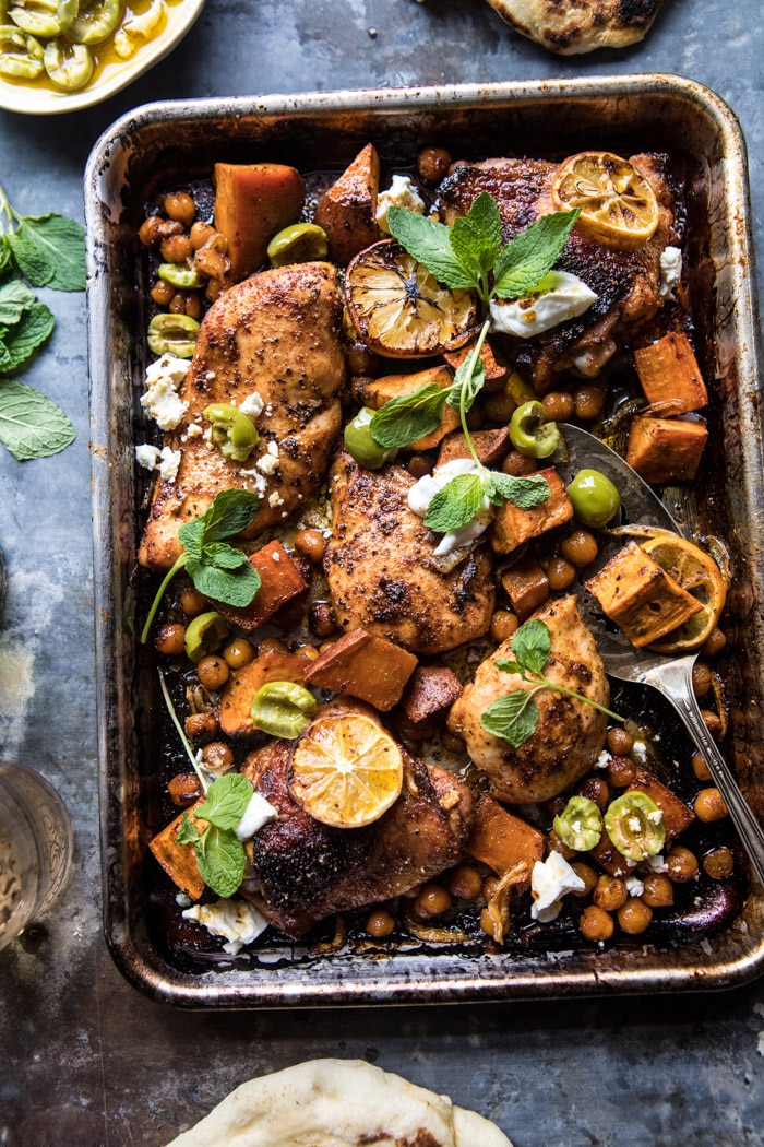 Sheet-pan Harissa chicken with chickpeas and sweet potatos